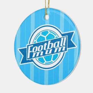 Decoración (azul) de la momia del fútbol adorno navideño redondo de cerámica