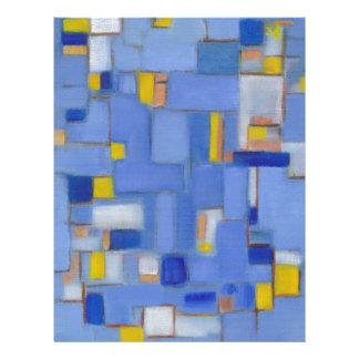 Decoración azul de la original del amarillo del ar membretes personalizados