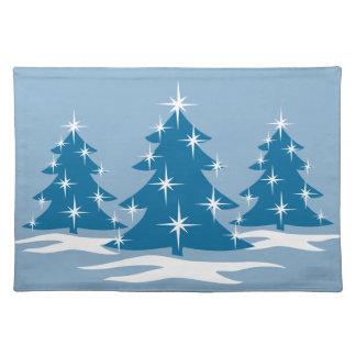 Decoración azul de los árboles de navidad de las e mantel