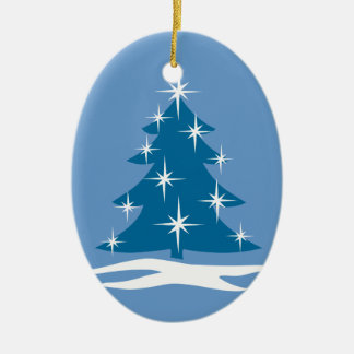 Decoración azul del árbol de Chrismas del Adorno Navideño Ovalado De Cerámica
