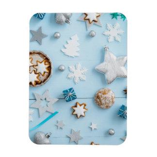 Decoración azul del navidad en la madera imanes de vinilo