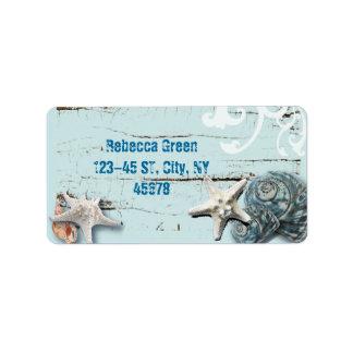 Decoración azul elegante romántica de la playa del etiquetas de dirección