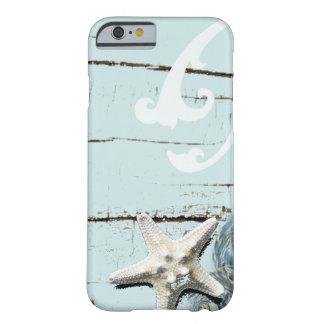 Decoración azul elegante romántica de la playa del funda de iPhone 6 barely there