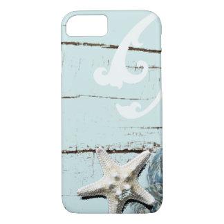 Decoración azul elegante romántica de la playa del funda iPhone 7
