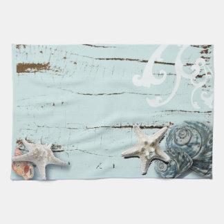 Decoración azul elegante romántica de la playa del toalla de mano