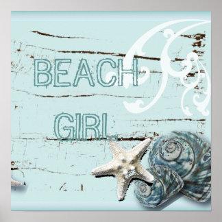 Decoración azul elegante romántica de la playa del póster