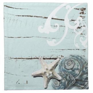 Decoración azul elegante romántica de la playa del servilleta de papel