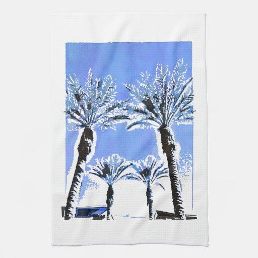 Decoración azul fresca del tema de la playa del pa toallas de cocina