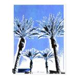 Decoración azul fresca del tema de la playa del pa tarjetas postales