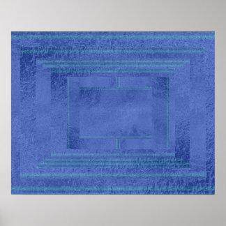 Decoración azul marino de seda del satén artístico póster