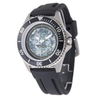 Decoración azul personalizada del reloj del