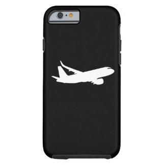 Decoración blanca del vuelo de la silueta del funda para iPhone 6 tough