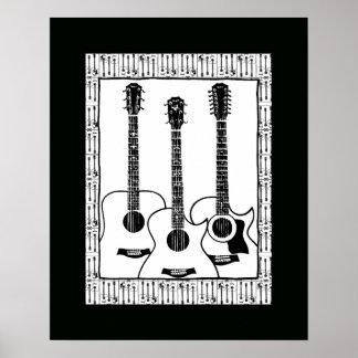 decoración blanco y negro de la guitarra póster