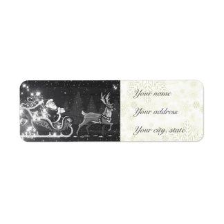 Decoración blanco y negro de Santa del vintage del Etiqueta De Remite