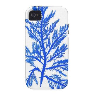 Decoración botánica costera de no. 7 azules de la  Case-Mate iPhone 4 fundas