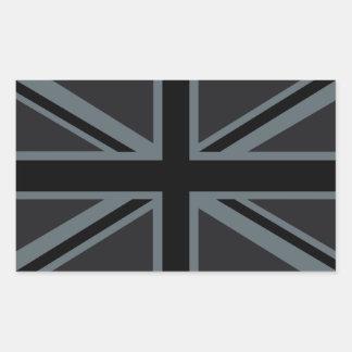 Decoración británica negra de la bandera de Union Pegatina Rectangular