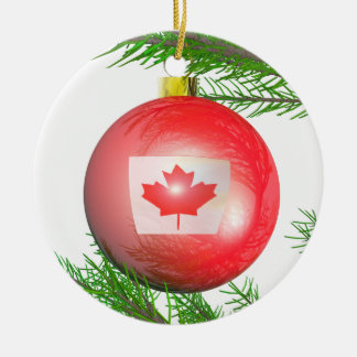 Decoración canadiense del árbol de navidad adorno navideño redondo de cerámica