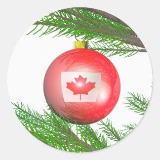 Decoración canadiense del árbol de navidad pegatina redonda