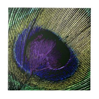 Decoración casera púrpura del pavo real n teja cerámica