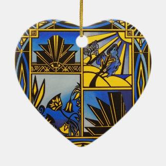 Decoración colgante del corazón de cerámica azul adorno navideño de cerámica en forma de corazón