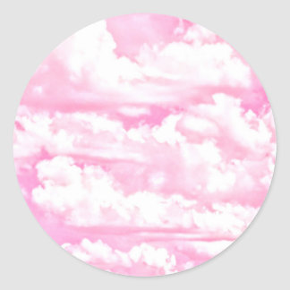Decoración color de rosa feliz suave de las nubes pegatina redonda