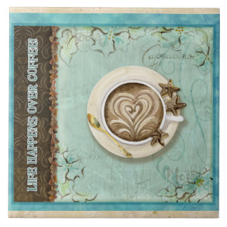 Decoración de la cocina del corazón del Cappuccino Azulejo Cuadrado Grande