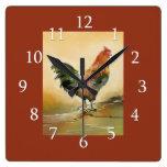 Decoración de la cocina del gallo del país reloj cuadrado