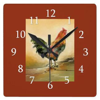 Decoración de la cocina del gallo del país reloj