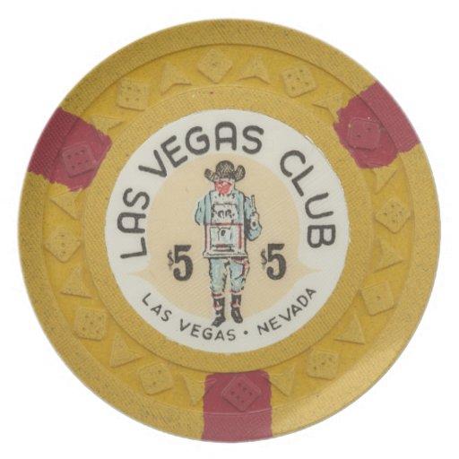 Decoración de la ficha de póker del vintage del ca platos de comidas