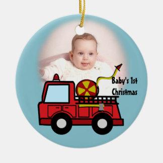 Decoración de la foto del coche de bomberos adorno redondo de cerámica