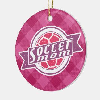 Decoración de la mamá del fútbol adorno navideño redondo de cerámica