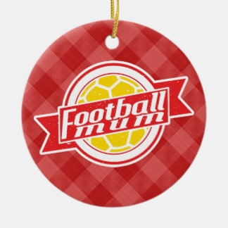 Decoración de la momia del fútbol adorno navideño redondo de cerámica