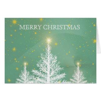 Decoración de la nieve del árbol de navidad del tarjeta de felicitación