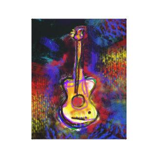 decoración de la pintura del arte de la guitarra lona envuelta para galerías