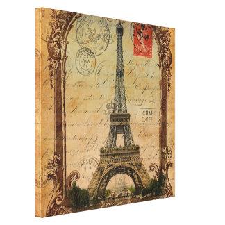 decoración de la torre Eiffel del vintage del Impresiones De Lienzo