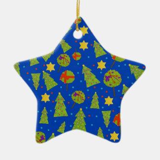 """Decoración de los """"abetos"""" en azul adorno navideño de cerámica en forma de estrella"""