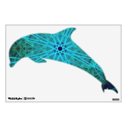 Decoración de neón abstracta de la pared del delfí vinilo adhesivo