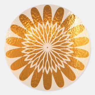Decoración de oro del ARTE del girasol Pegatina Redonda