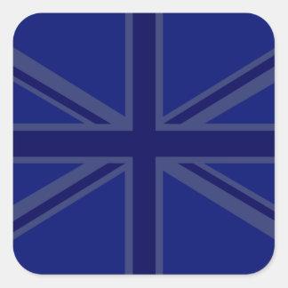 Decoración de Union Jack de los azules marinos Pegatina Cuadrada