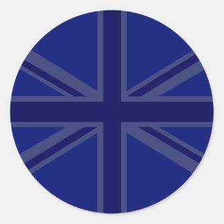 Decoración de Union Jack de los azules marinos Pegatina Redonda