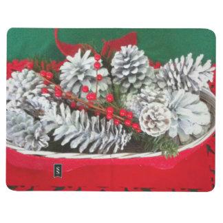 Decoración del acebo del cono del pino cuadernos grapados