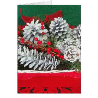 Decoración del acebo del cono del pino tarjeta de felicitación