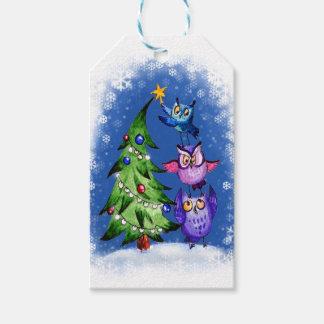 Decoración del árbol de los búhos del navidad etiquetas para regalos