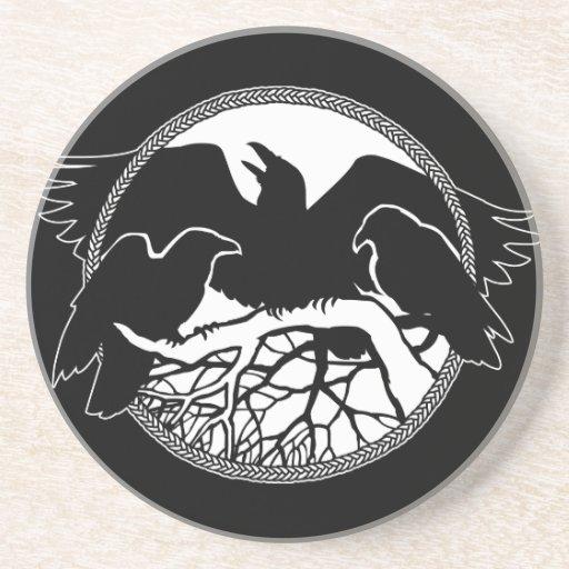 Decoración del arte del cuervo y del cuervo del re posavasos personalizados