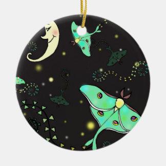 Decoración del día de fiesta del ornamento del adorno navideño redondo de cerámica