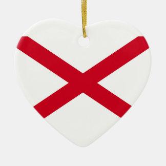 Decoración del diseño de la bandera del estado de adorno navideño de cerámica en forma de corazón
