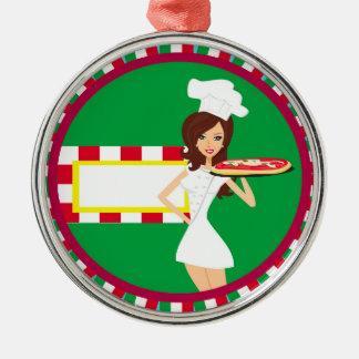 Decoración del fiesta de la pizza adorno navideño redondo de metal