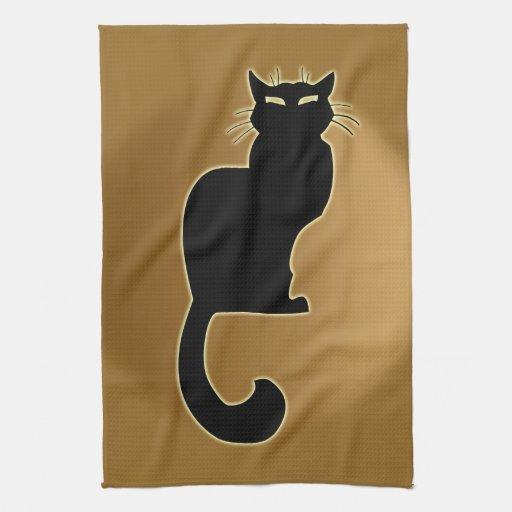 Decoración del gato de las toallas de té del arte