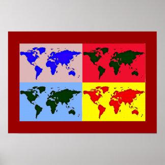 decoración del mapa del arte pop póster