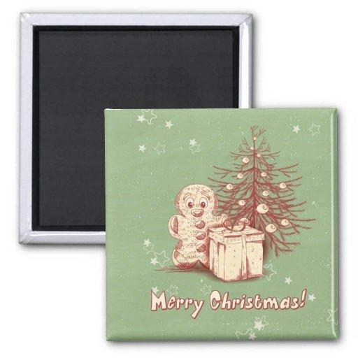 Decoración del navidad del vintage en fondo verde imanes